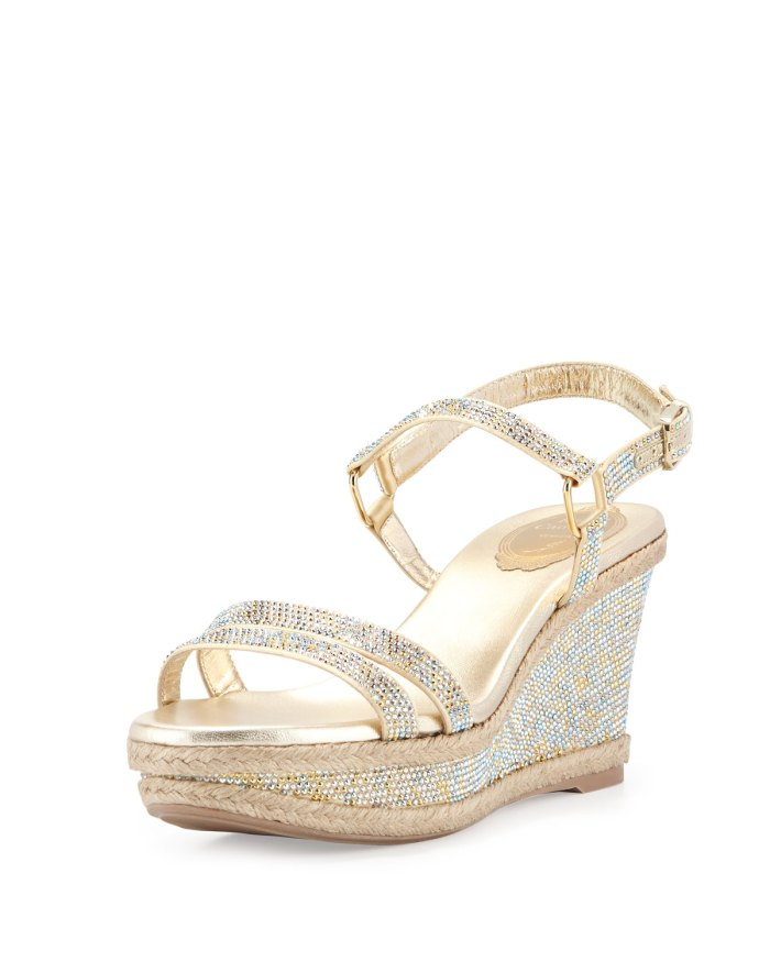 Rene Caovilla Crystal Wedge Gold Espadrille Sandals