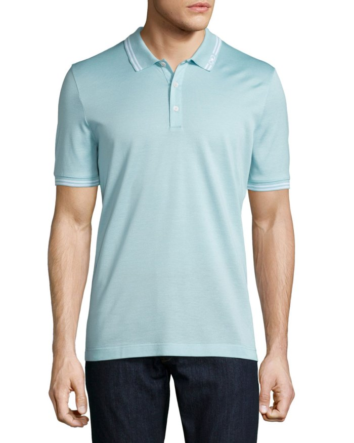 Salvatore Ferragamo Tape-Tipped Light Blue Short-Sleeve Polo Shirt