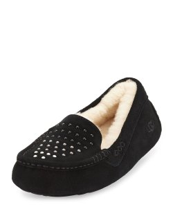 UGG Ansley Pearly Black Suede Slippers