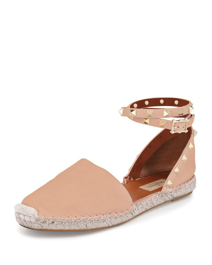 Valentino Rockstud Leather Skin Sorbet Ankle-Wrap Espadrille Shoes