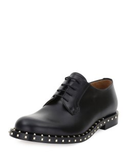 Valentino Rockstud Studded Lace-Up Black Derby Shoe