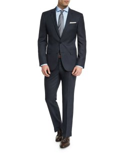 Boss Hugo Boss Huge Genius Melange Slim-Fit Navy Two-Piece Suit