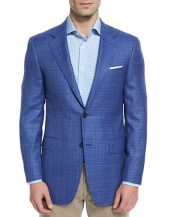 Canali Sienna Contemporary-Fit Textured Light Blue Sport Coat