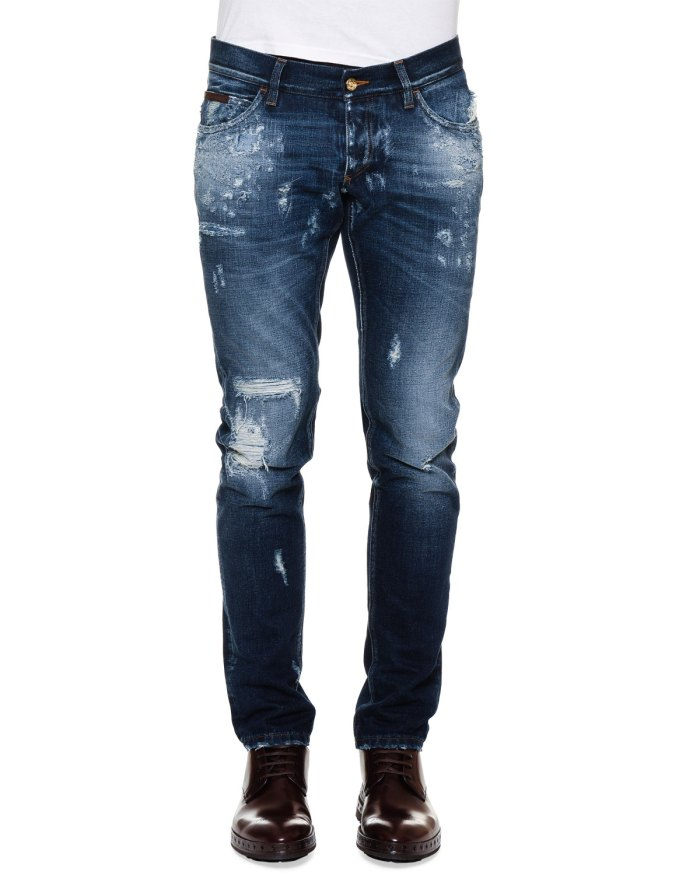 Dolce & Gabbana Five-Pocket Destroyed Denim Blue Jeans