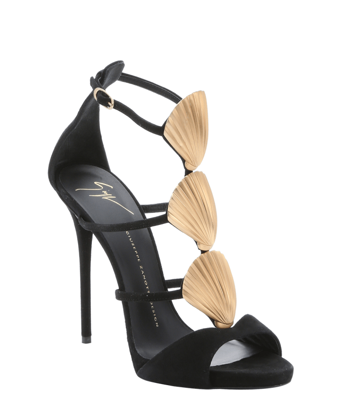GIUSEPPE ZANOTTI Black Suede Shell Detail Stiletto Sandals