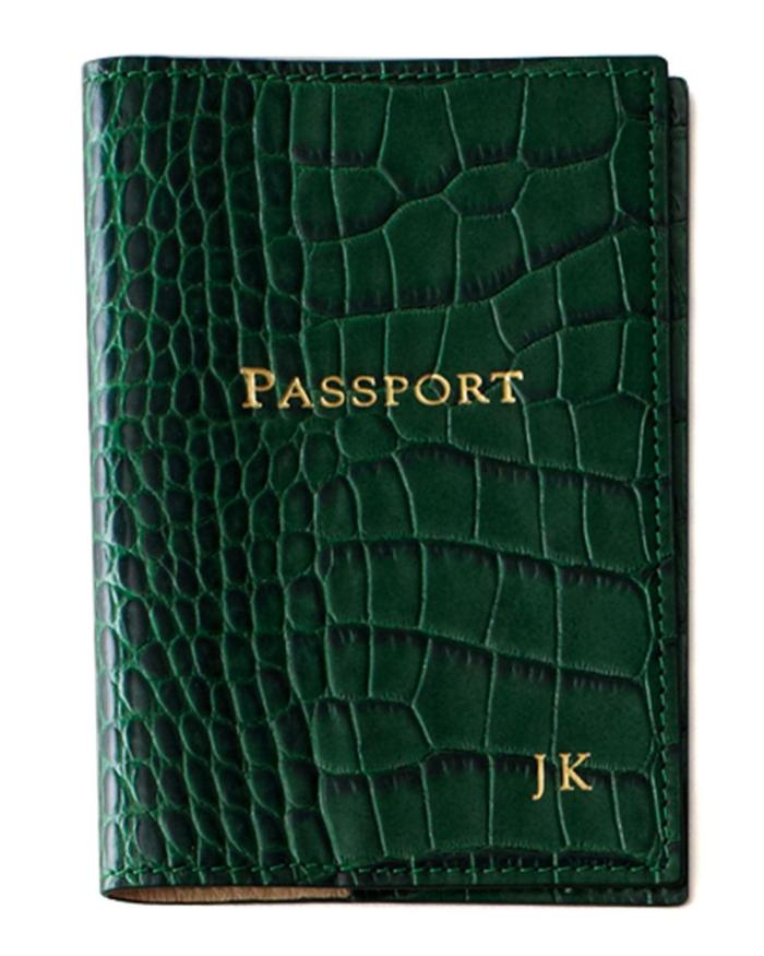 Graphic Image Crocodile-Embossed Personalized Leather Passport Cover