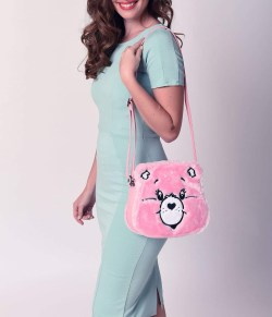 Pink Care Bears Stare Plush Crossbody Bag