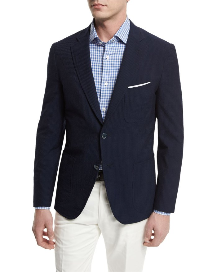 Isaia Seersucker Two-Button Navy Sport Coat