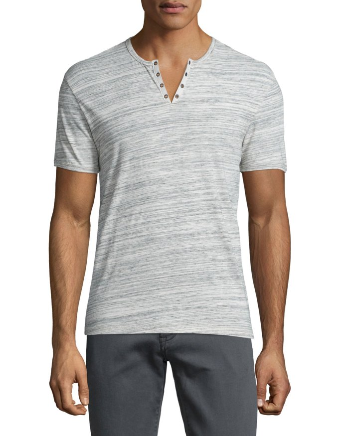 John Varvatos Star USA Heathered Short-Sleeve Gray Henley T-Shirt