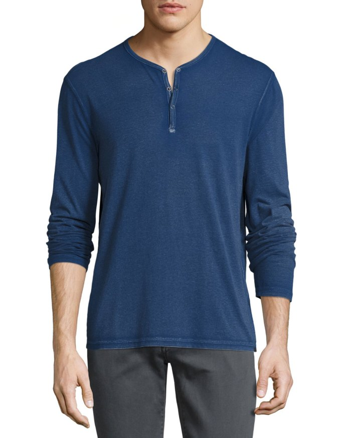 John Varvatos Star USA Long-Sleeve Blue Henley T-Shirt
