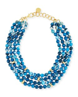 NEST Jewelry Multi-Strand Beaded Teal Agate Necklace