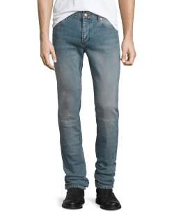 Saint Laurent Repaired Light Blue Straight-Leg Denim Jeans