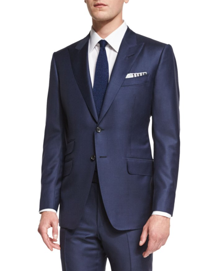 TOM FORD O'Connor Base Navy Sharkskin Two-Piece Suit