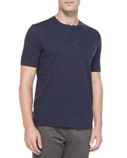 Vince Navy Short-Sleeve Slub Henley T-Shirt