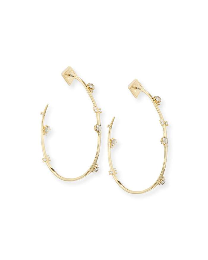 Alexis Bittar Jagged Crystal Hoop Earrings