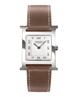 Hermès Heure H Watch on a Smooth Etoupe Calf Strap