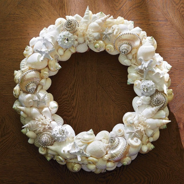 Crystalized Sea Shell Wreath by Isabella Adams