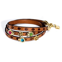 Tamara Comolli Loopy Mixed Cabochon Leather Wrap Bracelet