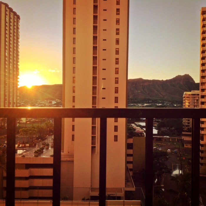 Sunrise Looking over Diamond Head in Waikiki Honolulu Hawaii