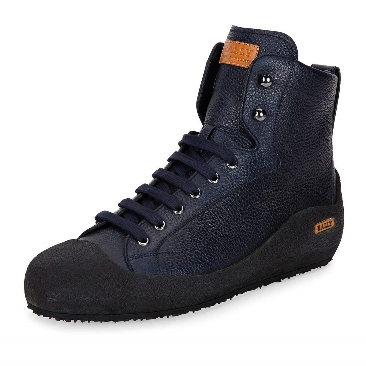 Bally Ellon Shearling-Lined Blue Leather Mens Snow Boots