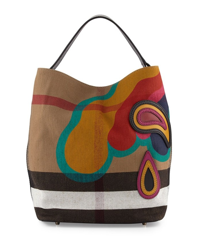 Burberry Ashby Medium Pop Elements Check Canvas Hobo Bag
