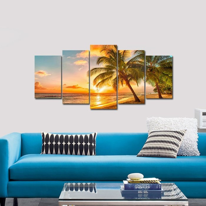 Beach in Paradise 5 Panel Canvas Photography Wall Art