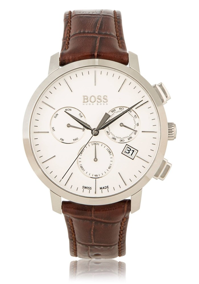 Hugo Boss Chronograph Italian Leather Swiss Quartz Watch