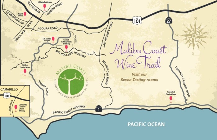 Malibu Coast Wine Trail Map. Have you Visited all Seven Tasting Rooms?