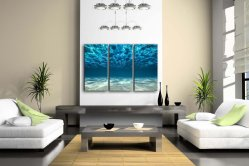 Blue Ocean Seascape Underwater 3 Panel Canvas Wall Art