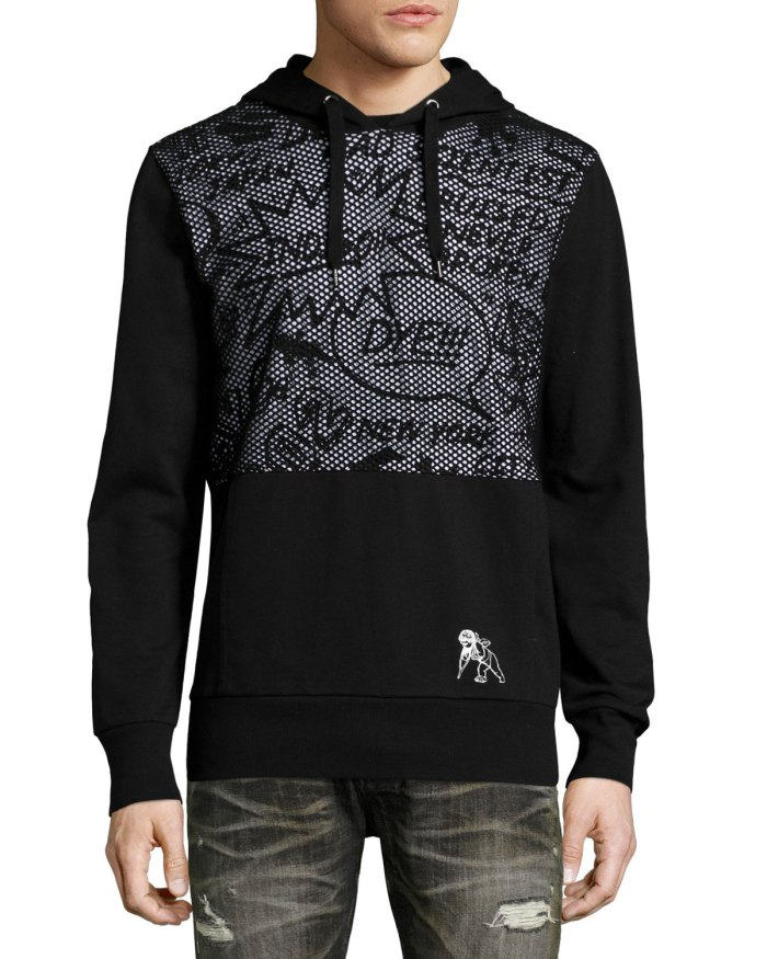 PRPS Comic-Strip Mesh-Panel Black Sweatshirt