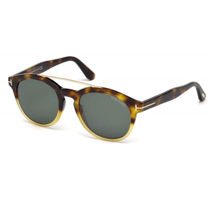 TOM FORD Newman Round Shiny Acetate Classic Havana Sunglasses