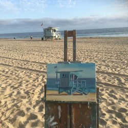 """Lifeguard Tower"" Oil Painting at Zuma Beach, Malibu By John Kilduff"