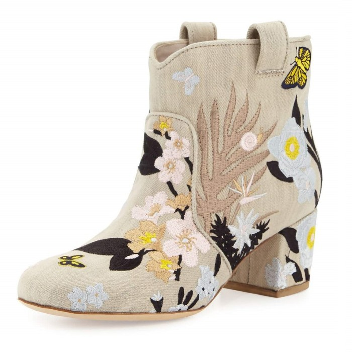 Laurence Dacade Belen Embroidered Beige / Pastel Western Ankle Boots