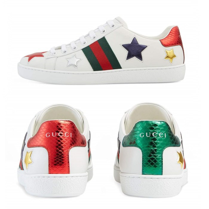 Gucci New Ace Star Leather Womens Sneakers