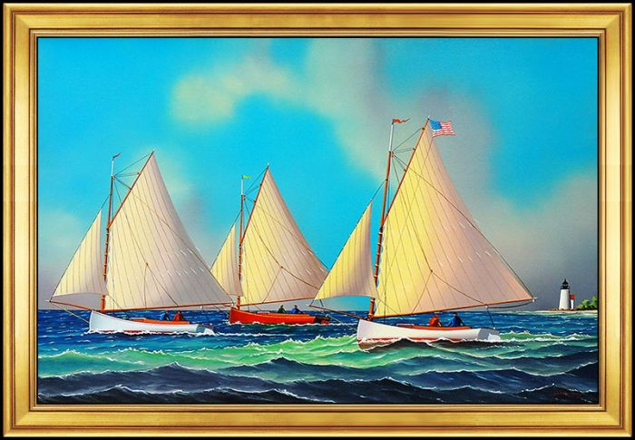 Jerome Howes Original Painting Oil on Board Signed Cape Cod Sailboat Artwork