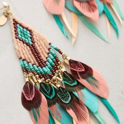 Quetzal Beaded Feather Earrings