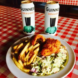 St Patricks Day Food Idea: Fish & Chips + Guinness Beer at Reel inn Malibu