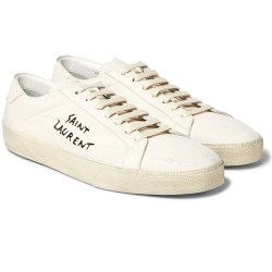 SAINT LAURENT SL/06 Leather-Trimmed Distressed Canvas Mens Sneakers