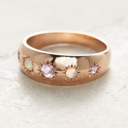 Starburst Gypsy Ring 14k Rose Gold Handmade in Los Angeles