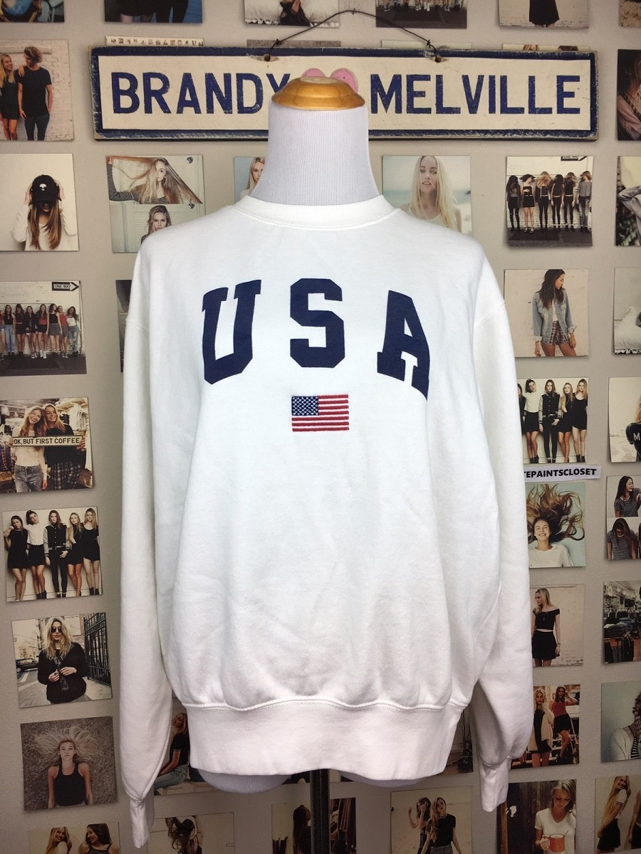 USA Brandy Melville White Oversized Fleece Vintage Style John Galt Crewneck Sweatshirt