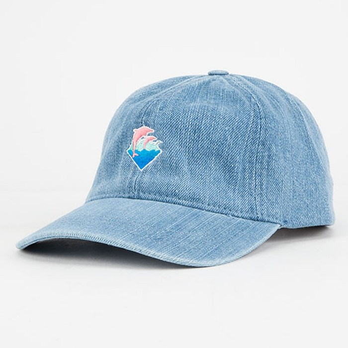 Pink Dolphin Waves Denim Dad Hat