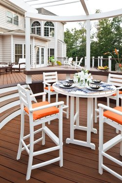 Trex Outdoor Furniture Monterey Bay Bar Classic White Arm Chair with Free Shipping