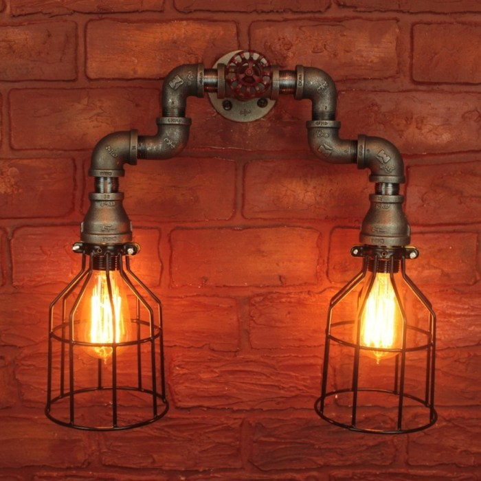 Industrial steampunk edison light bulbs w cages wall sconce bathroom vanity light fixture for Edison bathroom light fixtures