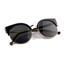 Black Half Frame Cat Eye Sunglasses