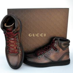 GUCCI GG Designer High Top Size 9.5 Mens Sneakers