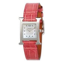 Hermès Heure H PM Watch with Diamonds & Raspberry Alligator Strap