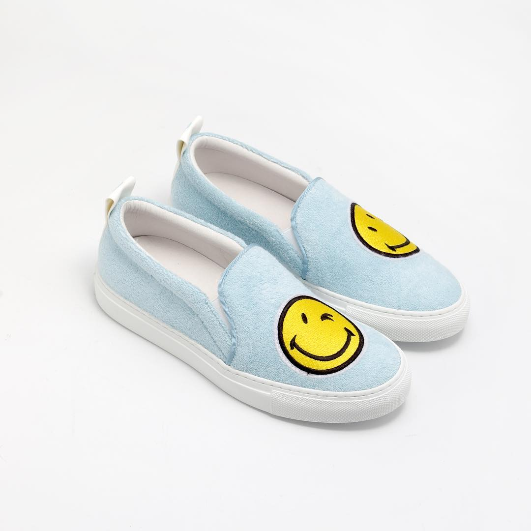 Joshua Sanders Light Blue Fleece and Leather Smile Slip on Sneakers