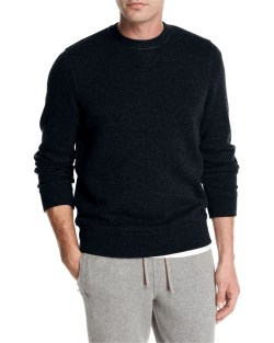 Loro Piana Cashmere-Nylon Jersey Mens Crewneck Sweater