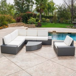Santa Cruz Outdoor 7-piece Grey Wicker Sofa Set with Cushions