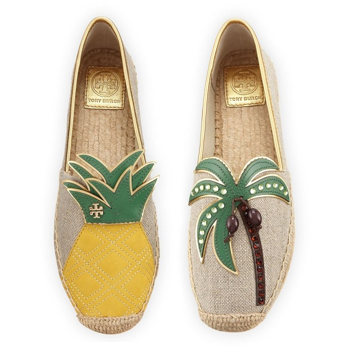 Tory Burch Castaway Pineapple & Palm Tree Canvas Flat Espadrille